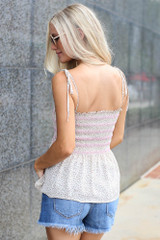 Smocked Peplum Tank in Ivory Back View