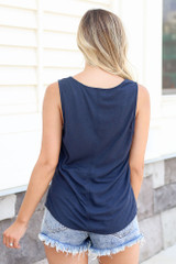 Knotted Tank in Navy Back View