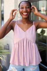 Mauve - Dress Up model wearing the Babydoll Tank with denim shorts