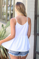 Babydoll Tank in White Back View