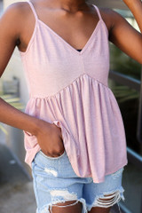 Close Up of the Babydoll Tank in Mauve