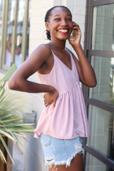 Babydoll Tank in Mauve Side View