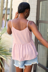 Babydoll Tank in Mauve Back View
