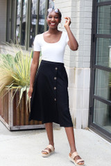 Model wearing the Button Front Midi Skirt