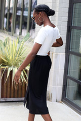 Button Front Midi Skirt Side View