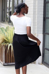 Button Front Midi Skirt Back View