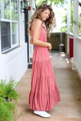 Tiered Maxi Dress in Rust Side View