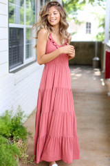 Tiered Maxi Dress in Rust Front View