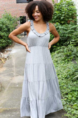 Tiered Maxi Dress in Heather Grey Front View