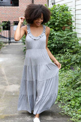 Heather Grey - Model wearing the Tiered Maxi Dress