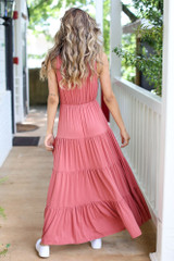 Tiered Maxi Dress in Rust Back View