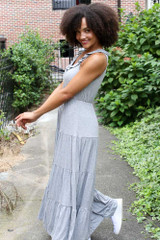 Tiered Maxi Dress in Heather Grey Side View