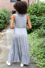 Tiered Maxi Dress in Heather Grey Back View