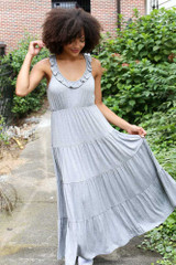Close Up of the Tiered Maxi Dress in Heather Grey