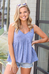 Navy - Model wearing the Knit Babydoll Tank with denim shorts