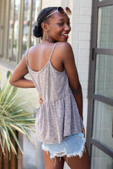 Knit Babydoll Tank in Charcoal Side View