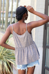 Knit Babydoll Tank in Charcoal Back View