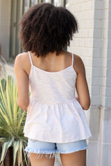 Knit Babydoll Tank in Blush Back View