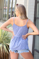 Knit Babydoll Tank in Navy Back View