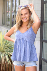 Knit Babydoll Tank in Navy Side View