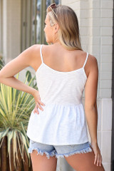 Knit Babydoll Tank in White Back View