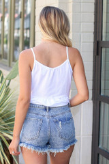 Distressed Denim Shorts Back View