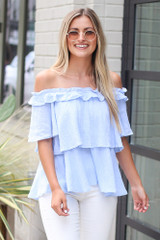 Light Blue - Ruffled Top from Dress Up