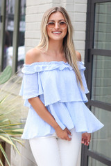 Ruffled Top in Light Blue Front View