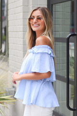 Ruffled Top in Light Blue Side View