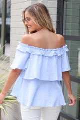 Ruffled Top in Light Blue Back View
