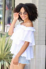 Ruffled Top in White Side View
