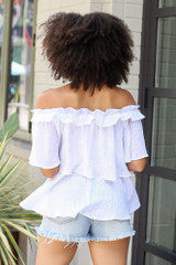 Ruffled Top in White Back View