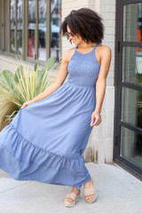 Model wearing the Smocked Maxi Dress