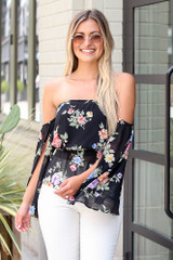 Floral Off-the-Shoulder Blouse in Black Front View