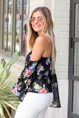 Floral Off-the-Shoulder Blouse in Black Side View