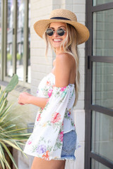 Floral Off-the-Shoulder Blouse in White Side View