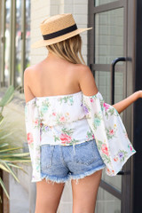 Floral Off-the-Shoulder Blouse in White Back View