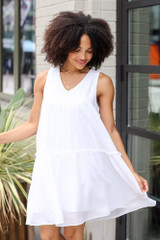 White - Tiered Swing Dress from Dress Up