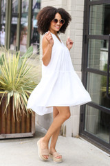 Tiered Swing Dress in White Side View