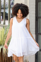 Tiered Swing Dress in White Front View