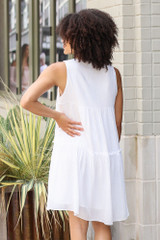 Tiered Swing Dress in White Back View