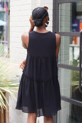 Tiered Swing Dress in Black Back View