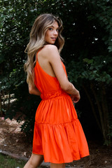 Coral - Tiered Halter Dress