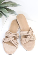 Taupe - Flat Lay of the Twist Strap Sandals