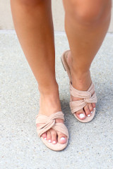 Taupe - Model wearing the Twist Strap Sandals