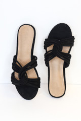Close Up of the Twist Strap Sandals in Black