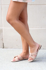 Twist Strap Sandals in Taupe Side View