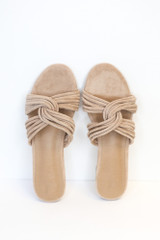 Close Up of the Twist Strap Sandals in Taupe