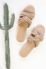 Flat Lay of the Twist Strap Sandals in Taupe