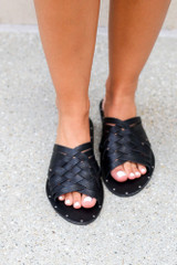 Model wearing the Braided Sandals